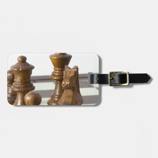 Pedazos de ajedrez negros etiquetas para maletas