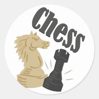 Pedazos de ajedrez pegatina redonda