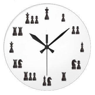 Pedazos de ajedrez reloj redondo grande