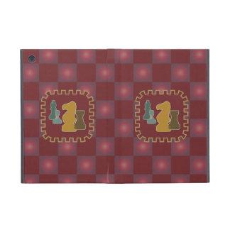 Pedazos de ajedrez rojos iPad mini fundas