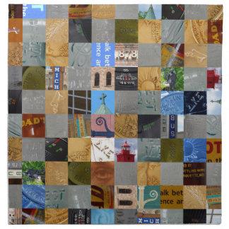 Pedazos de collage de las imágenes servilleta de papel