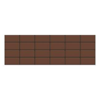 Pedazos de la barra de chocolate tarjetas de visita mini