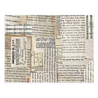 Pedazos de papel del vintage - vertical tarjeta postal