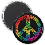 Pedazos del arco iris de paz imán de frigorifico