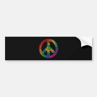 Pedazos del arco iris de paz pegatina para auto