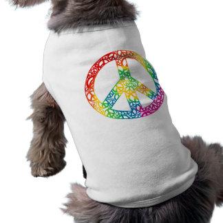 Pedazos del arco iris de paz playera sin mangas para perro