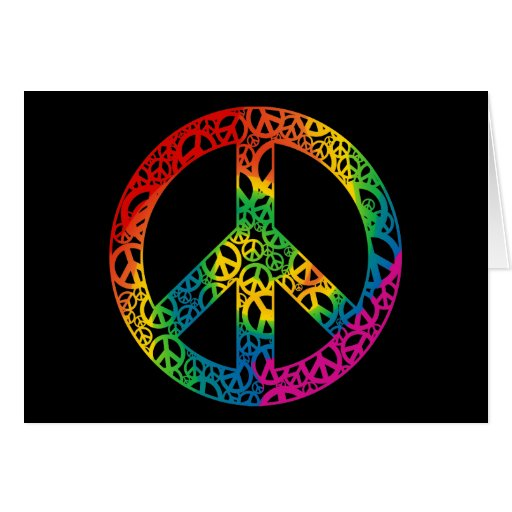Pedazos del arco iris de paz felicitacion