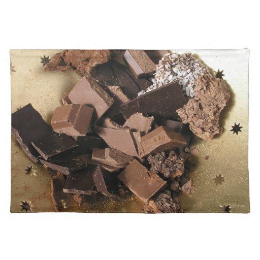 Pedazos del chocolate mantel individual