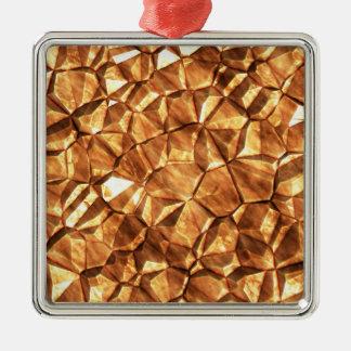 Pedazos del fondo de las pepitas de oro adorno navideño cuadrado de metal