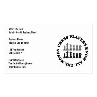 Pedazos del juego de ajedrez tarjetas de visita
