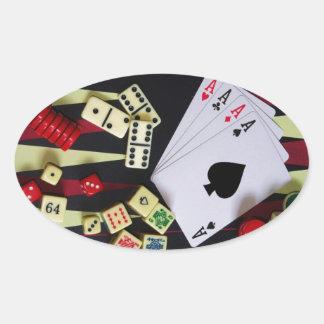 Pedazos del juego del casino de juego pegatina ovalada