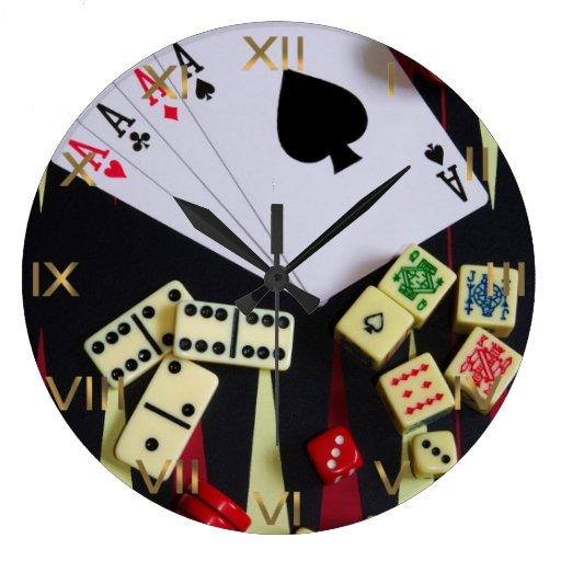 Pedazos del juego del casino de juego relojes de pared