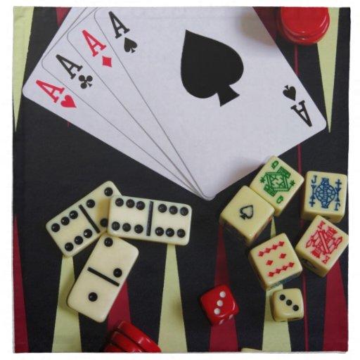Pedazos del juego del casino de juego servilletas imprimidas