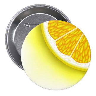 Pedazos del limón pin redondo de 3 pulgadas