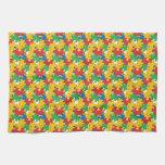 Pedazos del rompecabezas del arco iris toallas de cocina