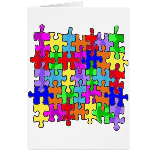 Pedazos del rompecabezas del autismo tarjeta de felicitación