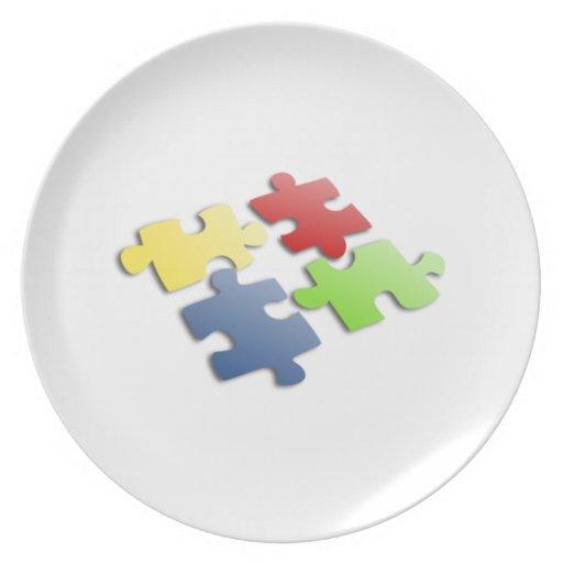 Pedazos del rompecabezas plato de comida