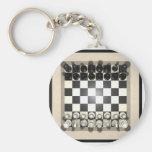 Pedazos del tablero de ajedrez y de ajedrez: llavero