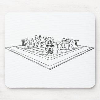 Pedazos del tablero de ajedrez y de ajedrez: mousepad