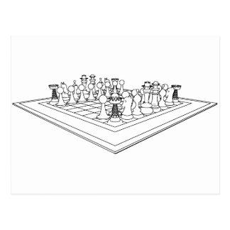 Pedazos del tablero de ajedrez y de ajedrez: postales