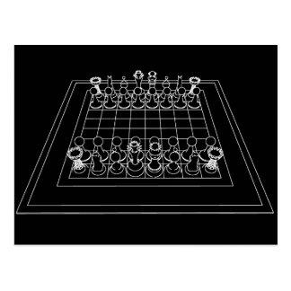 Pedazos del tablero de ajedrez y de ajedrez: tarjeta postal