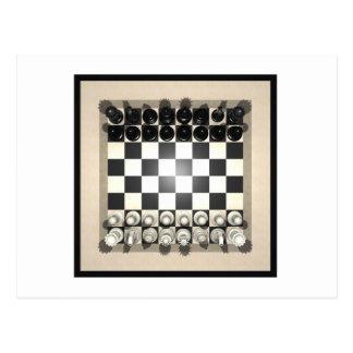 Pedazos del tablero de ajedrez y de ajedrez: tarjetas postales