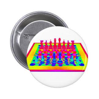 Pedazos psicodélicos del tablero de ajedrez y de pin redondo 5 cm