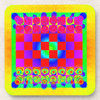 Pedazos psicodélicos del tablero de ajedrez y de posavasos