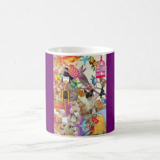 Pedazos y taza del collage 01 de las sacudidas