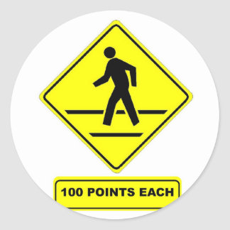 Pedestrian Crossing:  100 Points Each! Classic Round Sticker