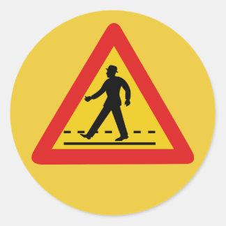 Pedestrian Crossing (1), Traffic Sign, Vietnam Classic Round Sticker
