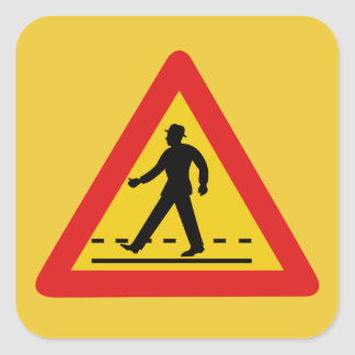 Pedestrian Crossing (1), Traffic Sign, Vietnam Square Sticker