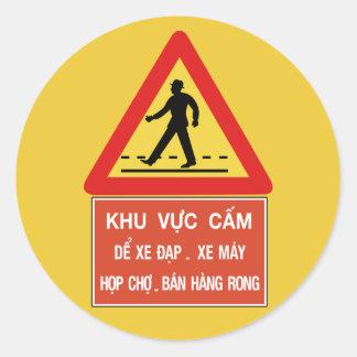 Pedestrian Crossing (2), Traffic Sign, Vietnam Classic Round Sticker