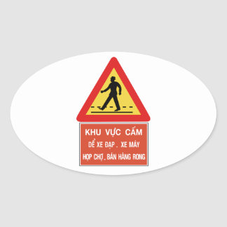 Pedestrian Crossing (2), Traffic Sign, Vietnam Oval Sticker