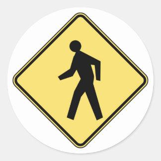 Pedestrian Crossing Classic Round Sticker