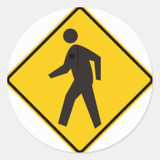 Pedestrian Crossing Highway Sign Classic Round Sticker