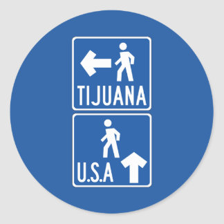 Pedestrian Crossing Tijuana-USA, Traffic Sign, USA Classic Round Sticker