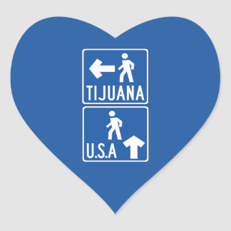 Pedestrian Crossing Tijuana-USA, Traffic Sign, USA Heart Sticker