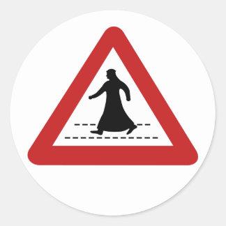 Pedestrian Crossing, Traffic Sign, UAE Classic Round Sticker