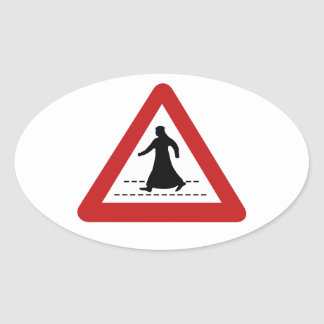 Pedestrian Crossing, Traffic Sign, UAE Oval Sticker