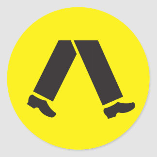 Pedestrian Crossing, Traffic Warning Sign, AU Classic Round Sticker