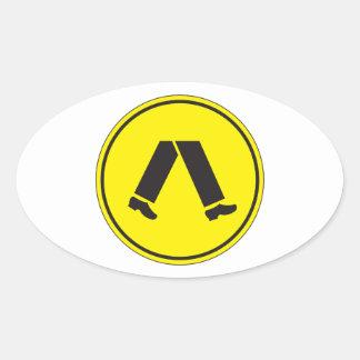 Pedestrian Crossing, Traffic Warning Sign, AU Oval Sticker