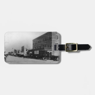 Pedestrians, cyclists, and horse-carriages bag tag
