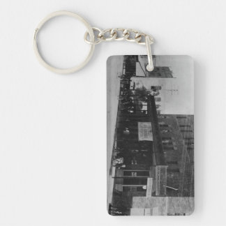 Pedestrians, cyclists, and horse-carriages Double-Sided rectangular acrylic keychain