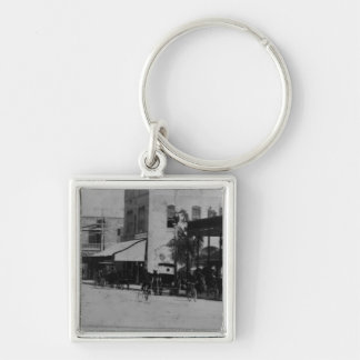 Pedestrians, cyclists, and horse-carriages Silver-Colored square keychain