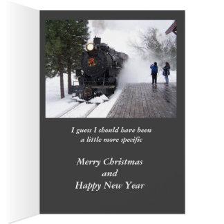 Pedí Santa una tarjeta de Navidad del tren