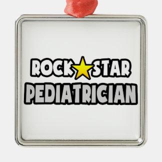 Pediatra de la estrella del rock adorno cuadrado plateado