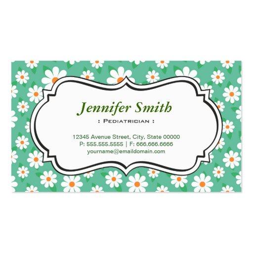 Pediatra - margarita verde elegante plantilla de tarjeta de negocio