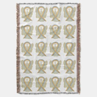 Pediatric Brain Cancer Ribbon Throw Blankets