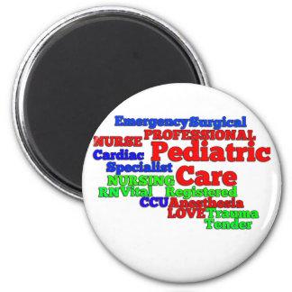 PEDIATRIC CARE NURSE WORDS SCRAMBLE 2 INCH ROUND MAGNET
